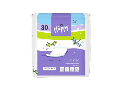 Пеленки для детей bella baby Happy classic, 60x60 см, (30 шт.)