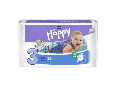 Подгузники Bella Baby Happy 3 midi 5-9 кг, (32 шт.)