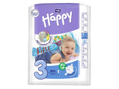Подгузники Bella Baby Happy 3 midi 5-9 кг, (1 шт.)