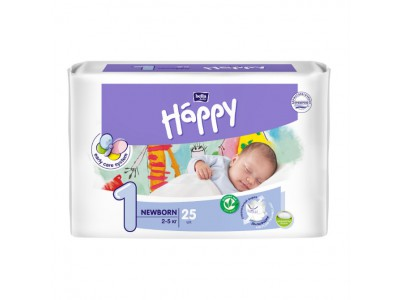 Подгузники Bella Baby Happy 1 Newborn 2-5 кг, (25 шт.)