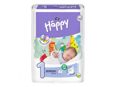 Подгузники Bella Baby Happy 1 Newborn 2-5 кг, (42 шт.)
